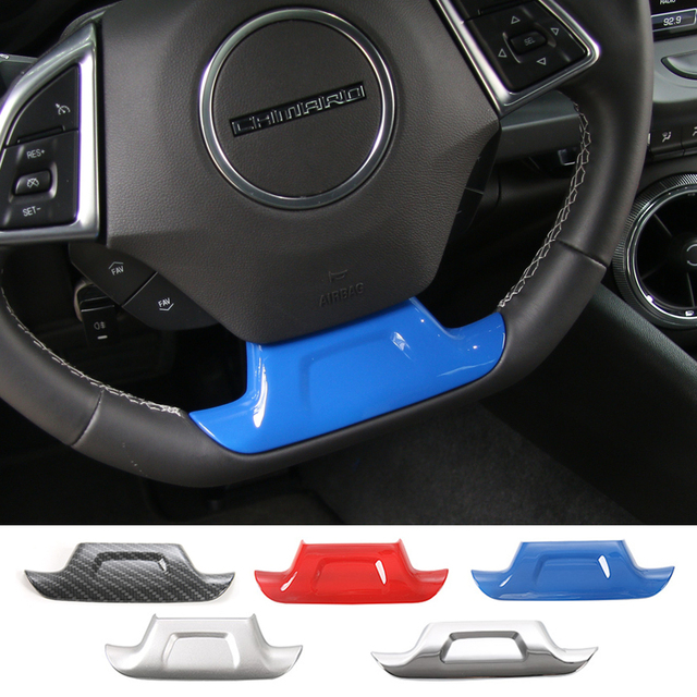 SHINEKA ABS 5 Colors Steering Wheel Cover Decorative Trim Sticker for Chevrolet Camaro 2017+ Car Styling