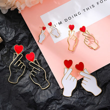 Trendy Gold Sliver Hollow Gesture Hand Love Heart Earrings For Women Girls Hip Hop Statement Stud Jewelry