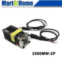 2.5 w 450nm azul violeta laser módulo ttl pwm dc 12 v 2 p ajustável distância focal motorista embutido para cnc gravura corte