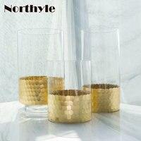 Golden honeycomb theme floor vase home decoration glass vase for wedding flower vase decoration