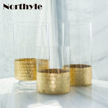 Golden honeycomb theme floor vase home decoration glass for wedding flower