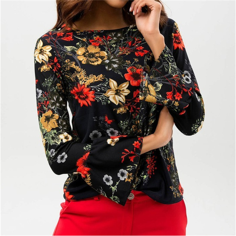 Women   Shirts   Autumn Casual Elegant O-neck   Blouse   Women Floral Print Top Camisa Feminina Long Sleeve Ladies   Blouse     Shirt