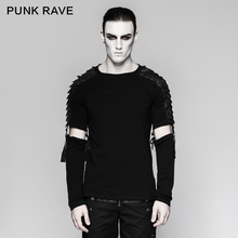 PUNK RAVE Men's Punk Street Cool T-shirt Gothic Motocycle Style Fashion Detachable Long Sleeve T-shirt Hip Hop Personality Tops футболка punk rave 285 t