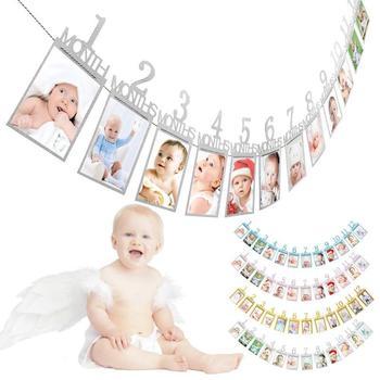 b3ac20099 1 Juego de 12 piezas de 1 a 12 meses foto Banner meses foto marco pared  marco bebé niño niña primer regalo de Decoración de cumpleaños