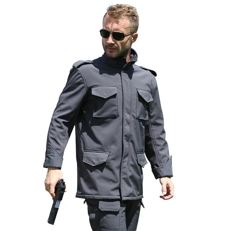 Men Outdoor Warm Fleece M65 Soft Shell Jacket Spring Autumn Climbing Hunting Riding Hiking Thermal Windproof Army Tactical Coat Sports & Entertainment