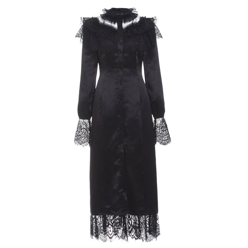Femmes Maxi robes gothique partie élégant bureau dame droite Flare manches maille dentelle maille solide femme mode robe