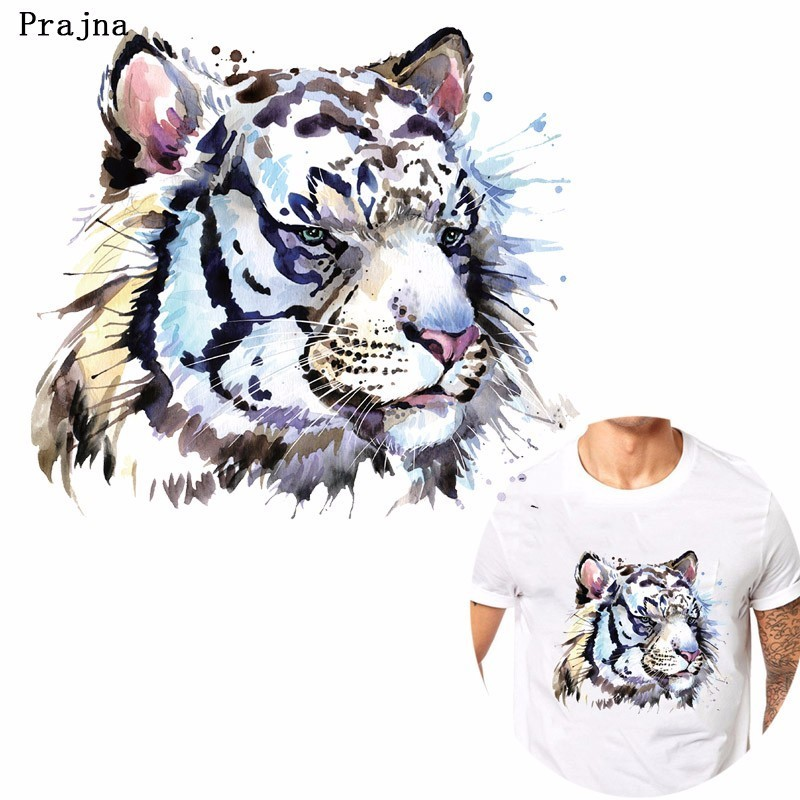 Prajna Punk Hippie Tiger Heat Transfer Printing DIY Supply Iron-on Transfer For T-shirt Cool Style Rock Man Patch Decoration H