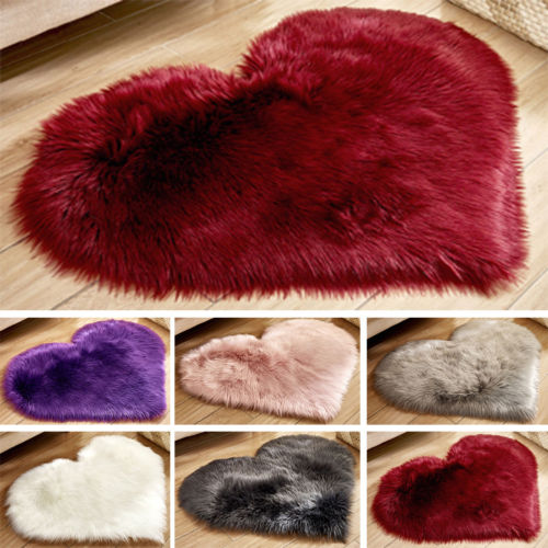 Fluffy Heart Shaped Rug Shaggy Floor Mat Soft Faux Fur Home Bedroom Hairy Carpet