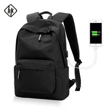 Hk mochila impermeable con USB para adolescentes, hombres y mujeres, bolsa de viaje, hombro bolsa de ordenador portátil