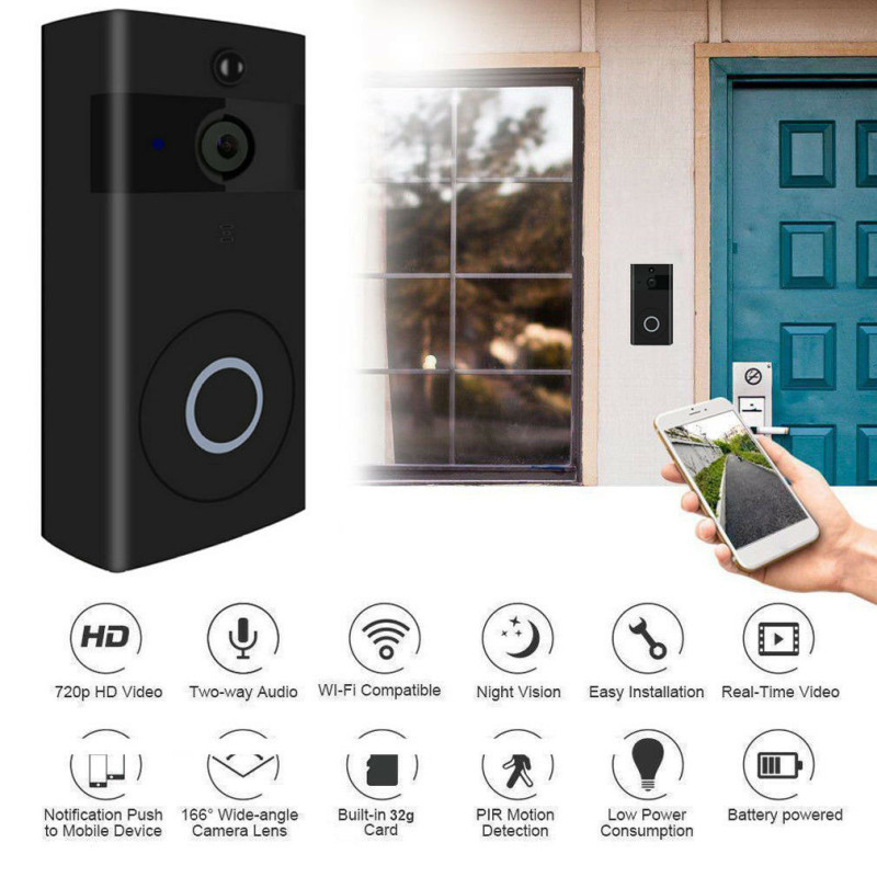 2019 Wireless Smart Door Bell IR Security Camera Video Wifi Doorbell Remote Intercom Access Control2019 Wireless Smart Door Bell IR Security Camera Video Wifi Doorbell Remote Intercom Access Control