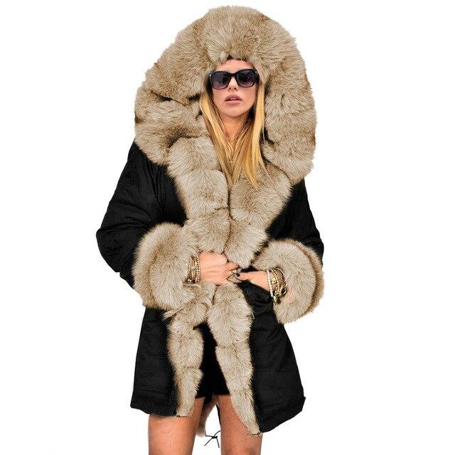 53b1a9a16 Women Fashion Thicken Warm Luxury Winter Coat Faux Fur Hood Parka Overcoat  Top Long Jacket Outwear