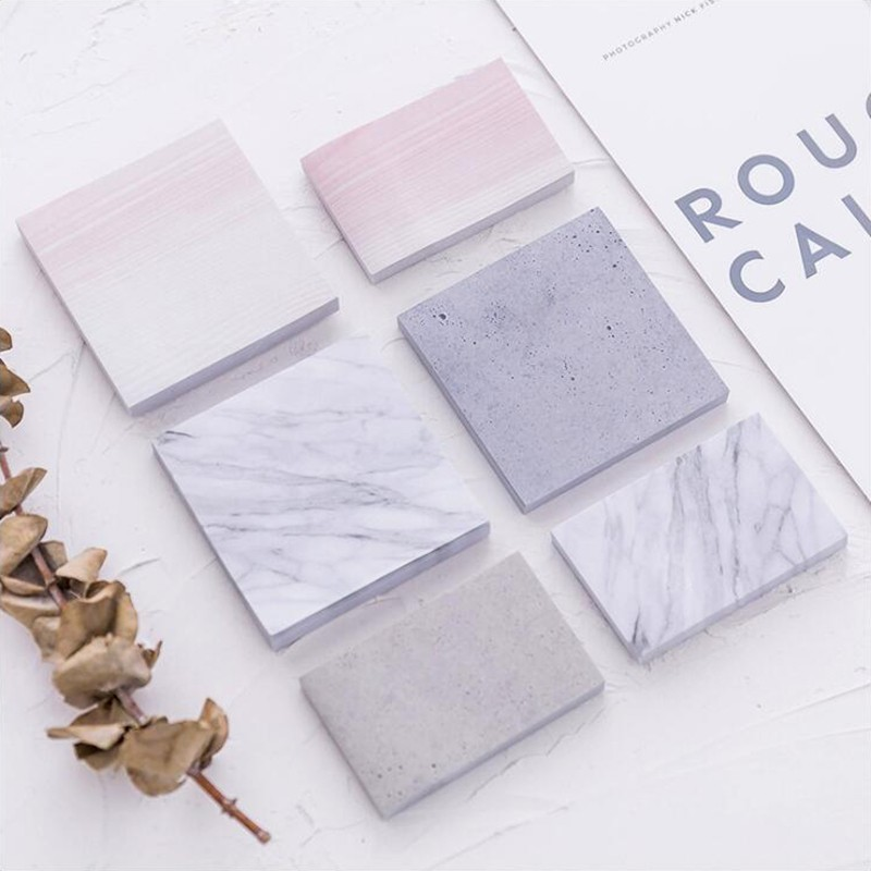 Self-adhesive Sticker Marble Pattern Notepad Sticky Notes Memo Pads Office Stationery And School Supplies 30pages/1PCS