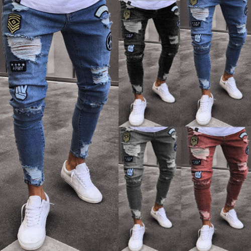Mens Skinny Jeans Rip Slim Fit Stretch Denim Distress Frayed Biker Jeans Pant US