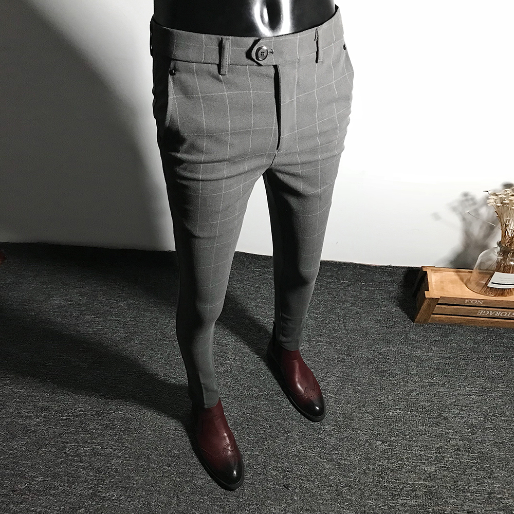 Autumn new plaid casual trousers men's Slim Korean version of the feet trousers England versatile tight-fitting men's pants tren