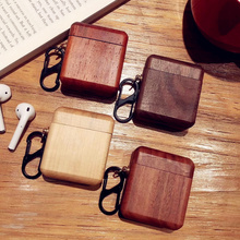 NEW retro Natural 100% solid Wood for AirPods Wooden protective case Apple Bluetooth Wireless Headset Hard shell With hook