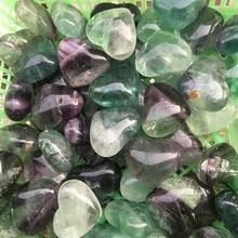 Natural color fluorite heart pendant Purple blue green DIY jewelry Handmade