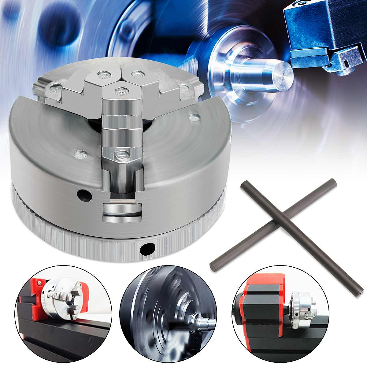 Newest 3 Jaw Self Centering Lathe Chuck M12*1 45mm Metal Scroll Chucks For Drilling Milling Machine Parts Diy Lathe Accessories