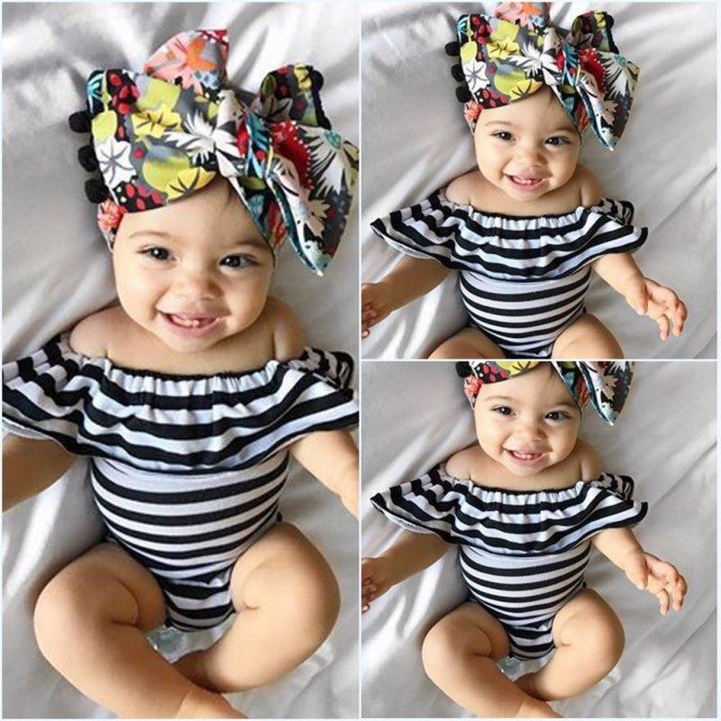 Newborn Baby Girl Ruffles Striped Off Shoulder Bodysuit Summer Baby Clothes Leotard Tops 0-24 Months