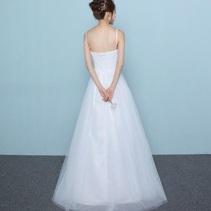 VENSANAC Sweetheart Lace Embroidery A Line Wedding Dresses Elegant Spaghetti Straps Tulle Backless Bridal Gowns