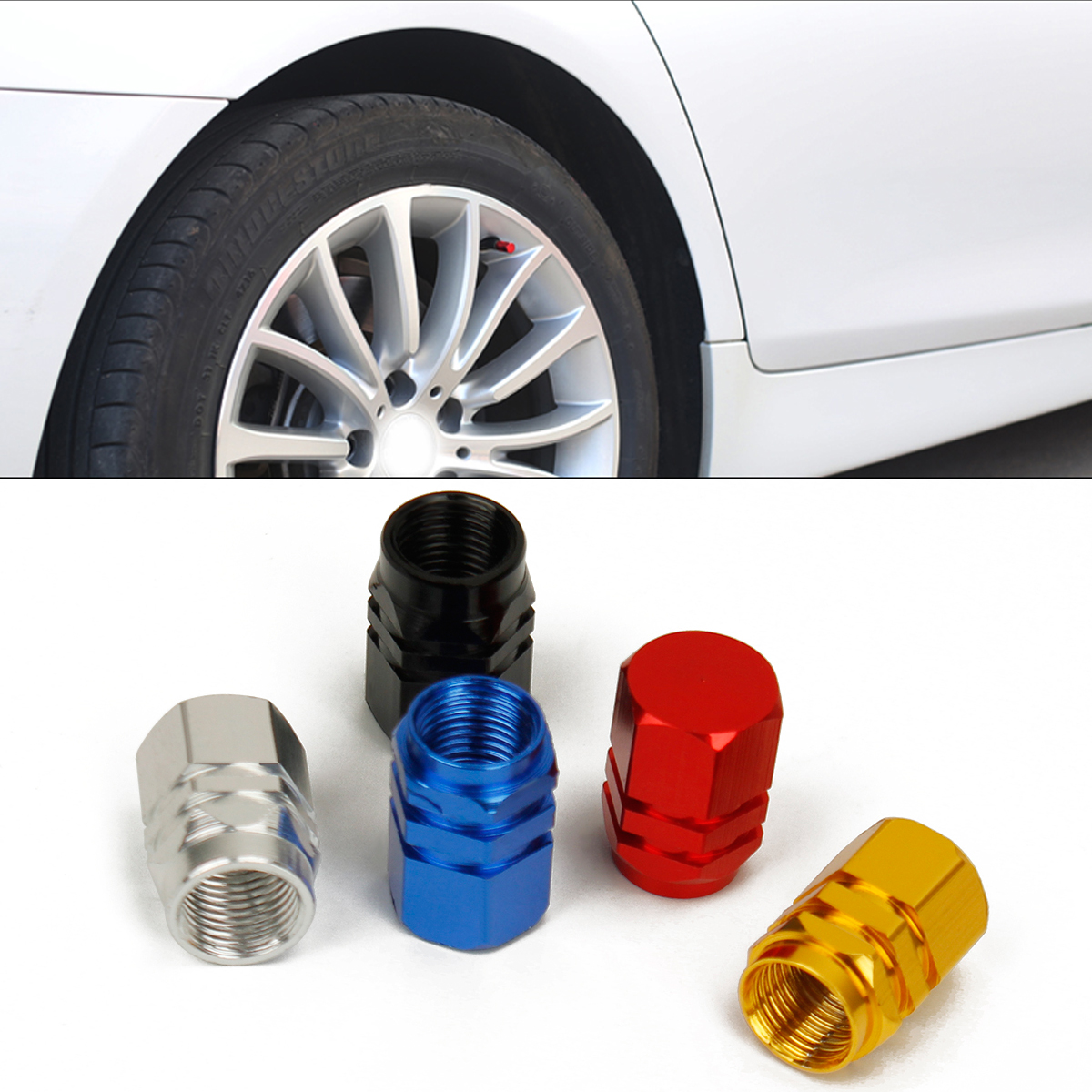 Universal 4pcs Aluminum Car Tyre Air Valve Caps Bike Bicycle Tire Valve Tyre Stem Cap Auto Wheel Styling Round Airtight Cover