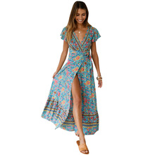 New Summer Leisure Hot Holiday Print Dress Sexy Long Womens Free Shipping