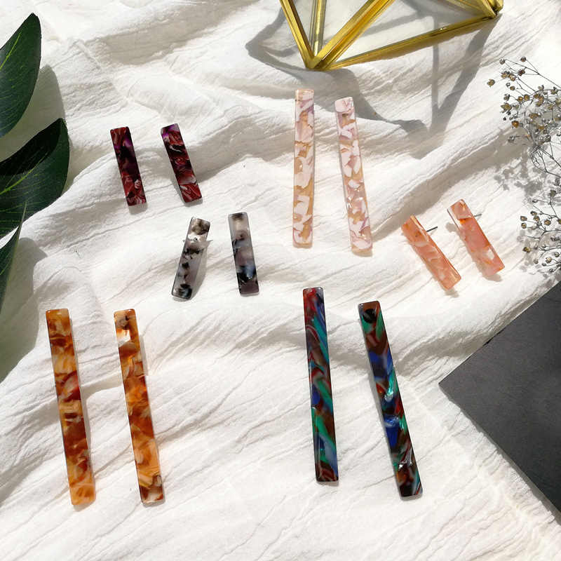 Geometric Earrings Simple Rectangle Square Jewelry Acrylic New Resin Long Bar Women Colorful Fashion