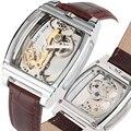 Механические часы  элегантные светящиеся автоматические часы с скелетом  коричневые часы из натуральной кожи  часы в деловом стиле