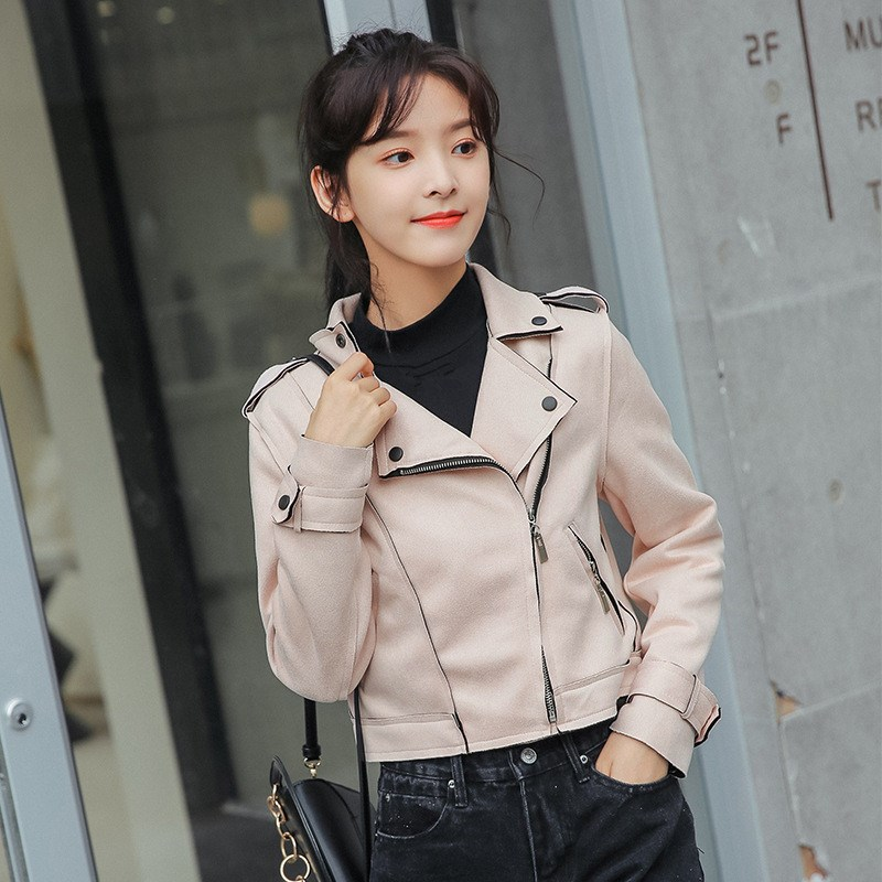 2018 Autumn Turndown Neck Pu   Leather   Jacket Turn-Down Collar Slim Zipper Faux   Suede   Coat Soft Motorcycle Jackets