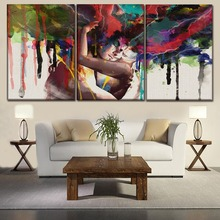 3 Panel Graffiti Abstract Artistic Man And Women Canvas Print Painting Modern Wall Art Home Decor Modular Picture For Bedroom