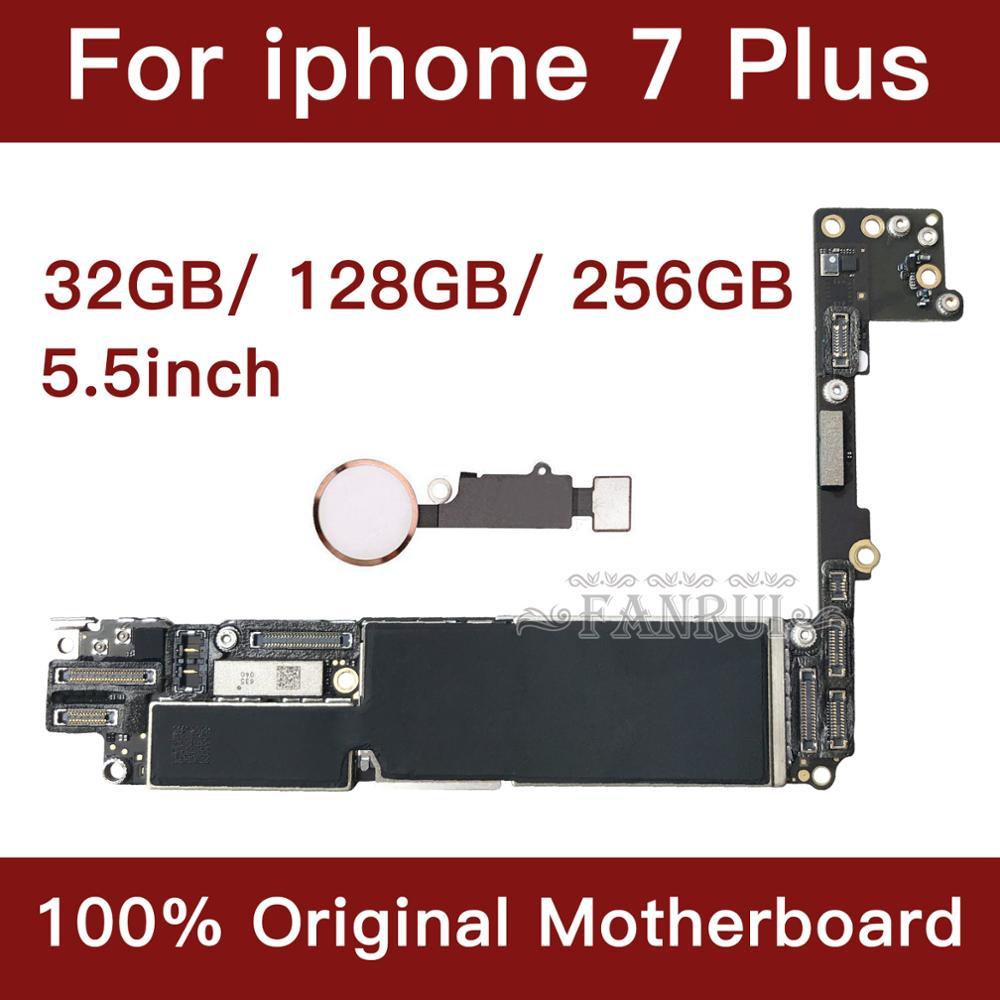 Para iphone 7 plus 5.5 polegada placa-mãe desbloquear mainboard com touch id função completa 100% original ios instalado placa lógica
