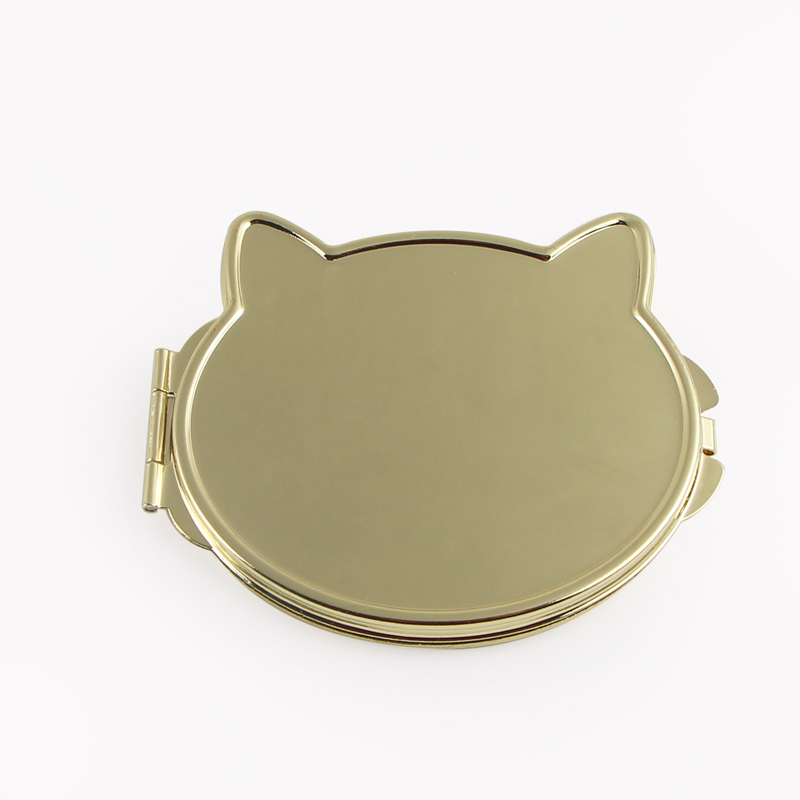 Gold Cat Face Compact Mirror 18577