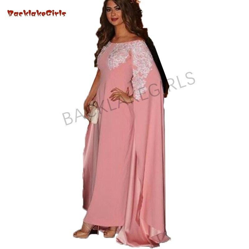 Appliques roses robes de soirée longues musulmanes avec manches Cape robes d'arabie saoudite encolure bateau robes de bal Caftan