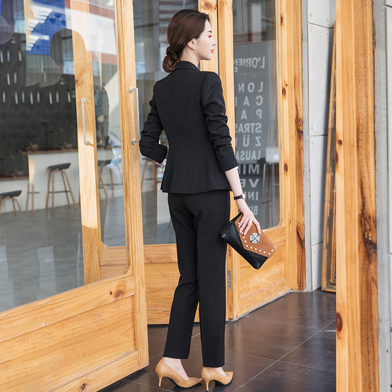 Professional suit female 2019spring new solid color small suit trousers two-piece suit slim slimming temperament women's clothes
