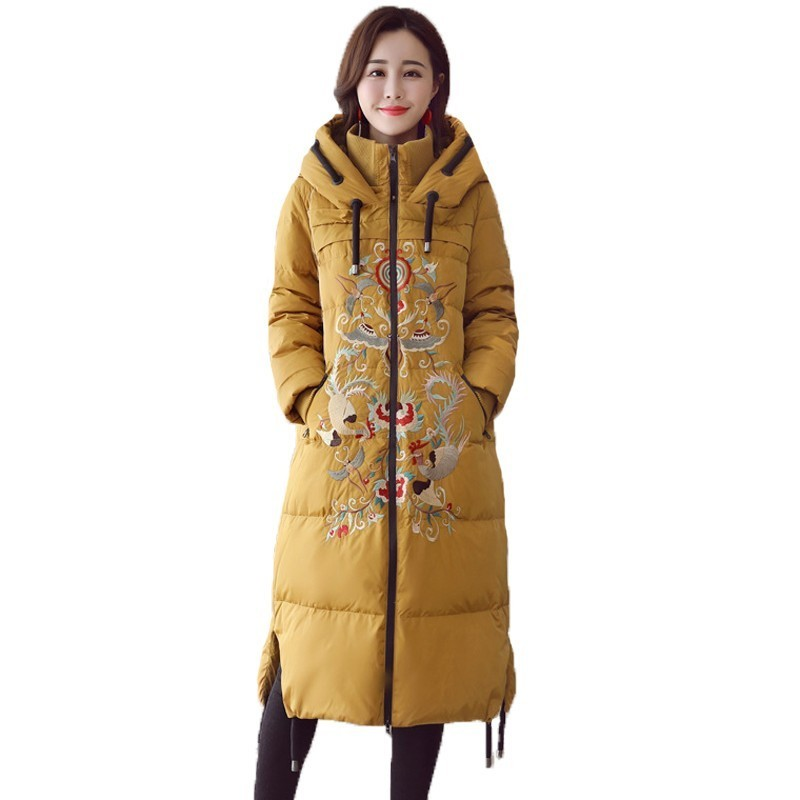 2018 Casual Vintage Chinese National Style Winter Jacket Women Tops Embroidery Cotton Padded Coat Female Hooded   Parka   A600