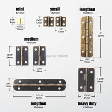 12Pcs Mini Lengthened Antique Brass Bronze Jewelry Chest Gift Wooden Music Box Wine Case Dollhouse Cabinet Door Hinge with Screw [haotian vegetarian] antique chinese brass coat detachable door hinge hinge small 9cm