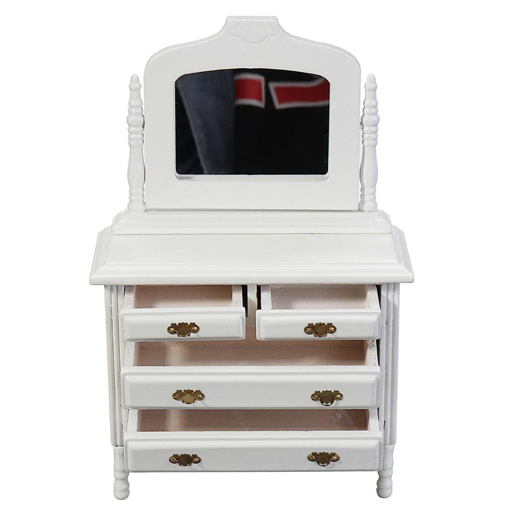 US $4.61 30% OFF|1:12 Dresser Dollhouse Miniature Wooden Bedroom Furniture  Vanity w/mirror WB0023-in Furniture Toys from Toys & Hobbies on AliExpress
