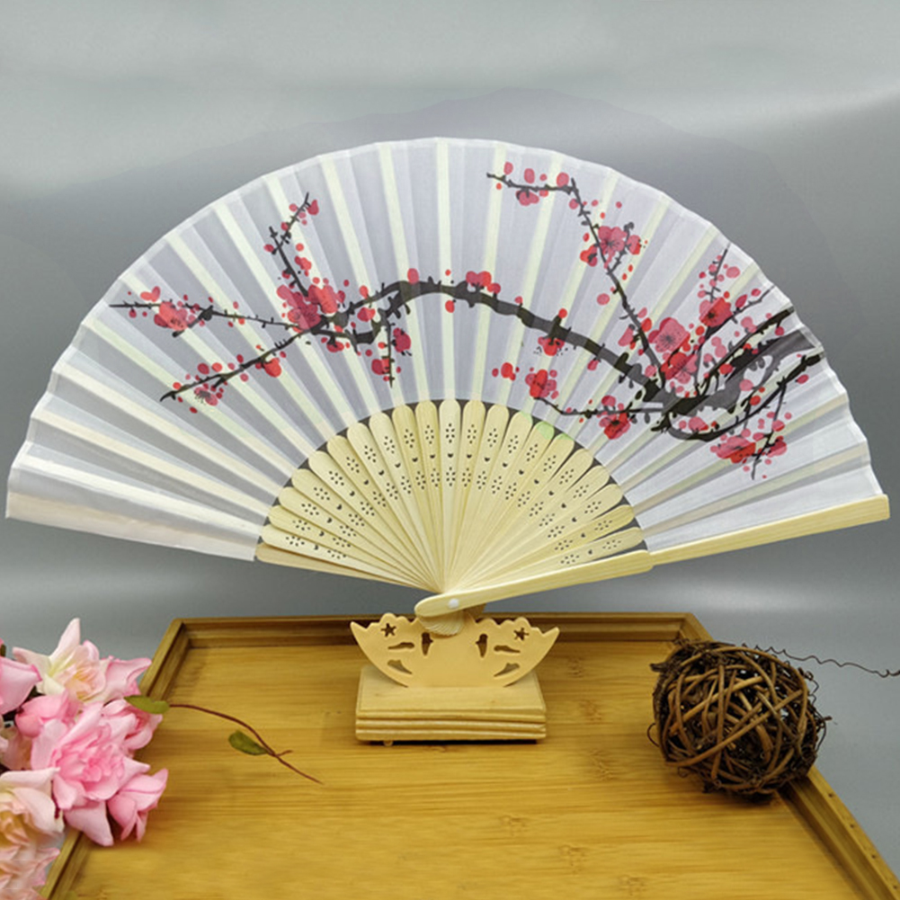 Bamboo Chinese Style Wedding Portable Hand Fan Folding Plum Blossom Handmade Artware Traditional
