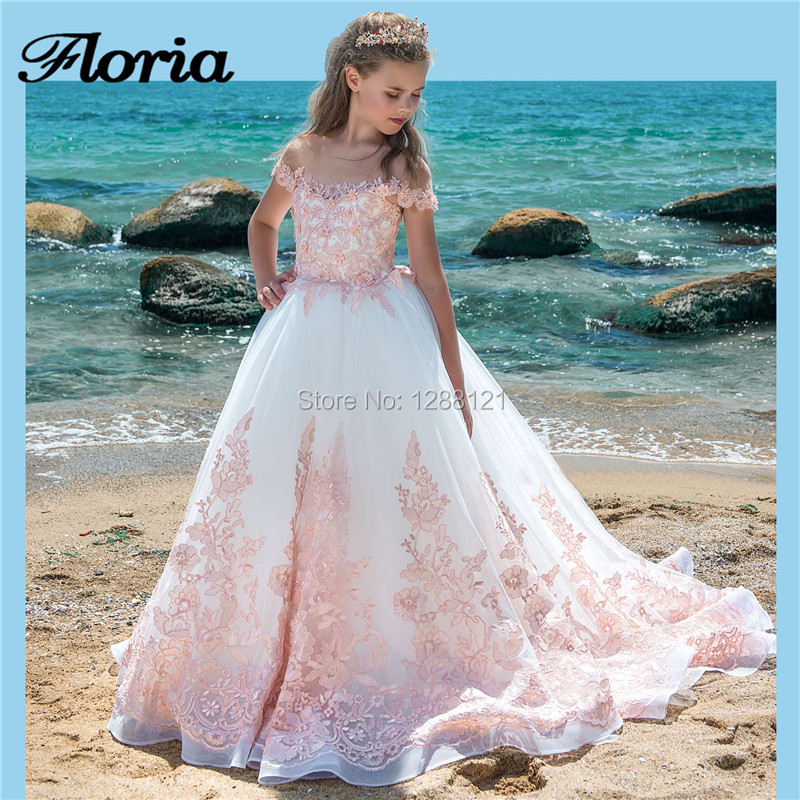 Pink Lace   Flower     Girl     Dresses   For Weddings 2019 New Elegant Long Kids Prom Pageant Gowns Ball Gown First Communion   Dress