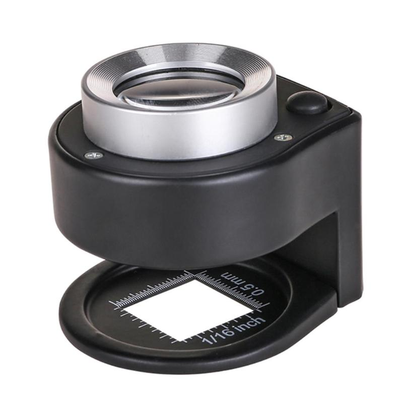 30X Optical Glass Lens Magnifier 6LED Full Metal Folding Linen Tester Loupe Magnifier Metal Double-Layer Magnifying Glass