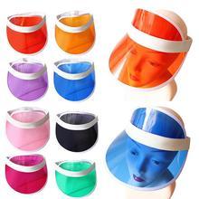 Estate di Colore Della Caramella Del Cappello Del Sole di Plastica  Trasparente IN PVC A Prova 20970d2d0605