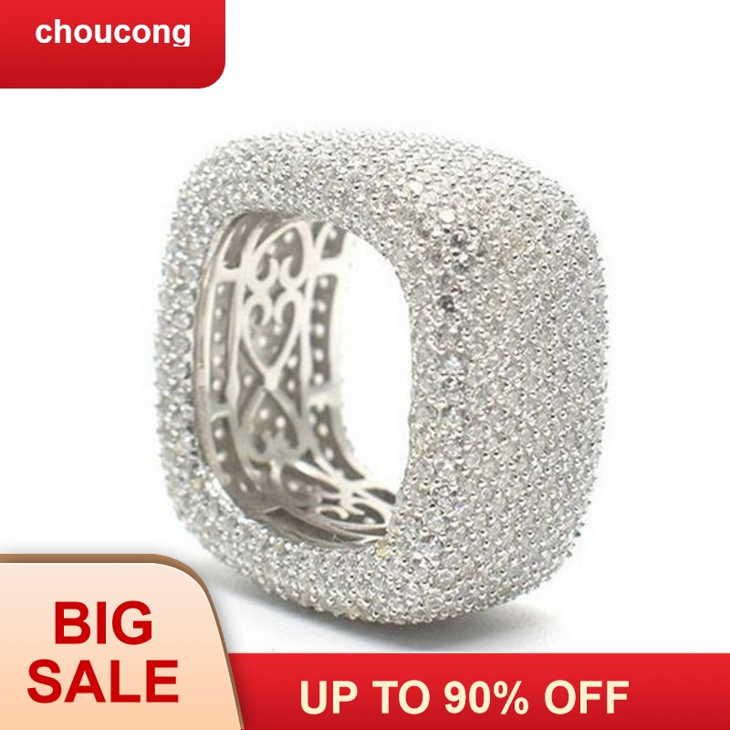 choucong Handmade Hollow Finger Ring 925 sterling Silver Micro pave 450Pcs AAAAA cz Wedding Band Rings For Women Men Jewelry