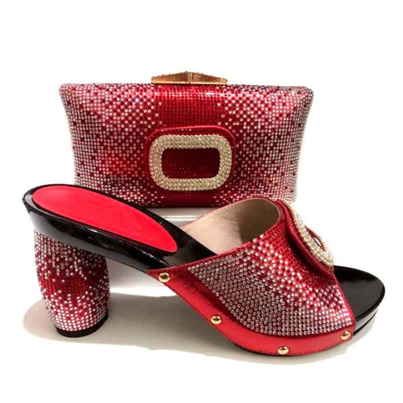 GL-365 Red Color Shoe And Bag To Match Set Nigerian Italian High Heels Party Shoes And Bag Set For Wedding Dress new african elegant gold color shoes and bag to match set nigerian italian high heels party shoes and bag set for wedding dress
