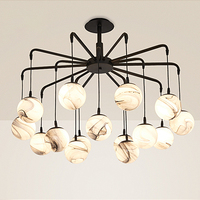 Ditoon Post Modern Led Chandelier Nordic Decor Lighting Living Room Bedroom Iron Glass Lamp Spider Stone Pattern Black Lusters
