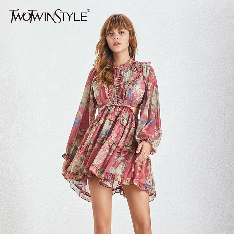 TWOTWINSTYLE Casual Backless Print Women Dress Stand Lantern Sleeve Bandage High Waist Mini Dresses Female 2019