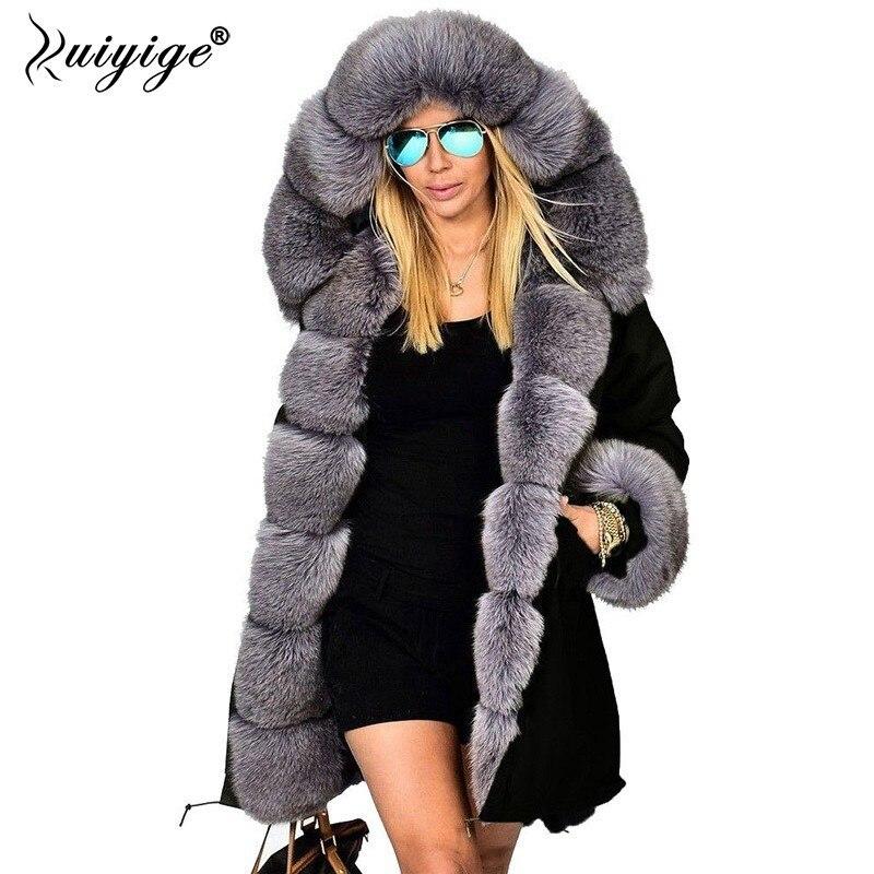 Ruiyige Новинка 2018 года модная зимняя куртка для женщин теплое пальто искусственный мех хлопок флисовое Женский Длинные пальто с ш