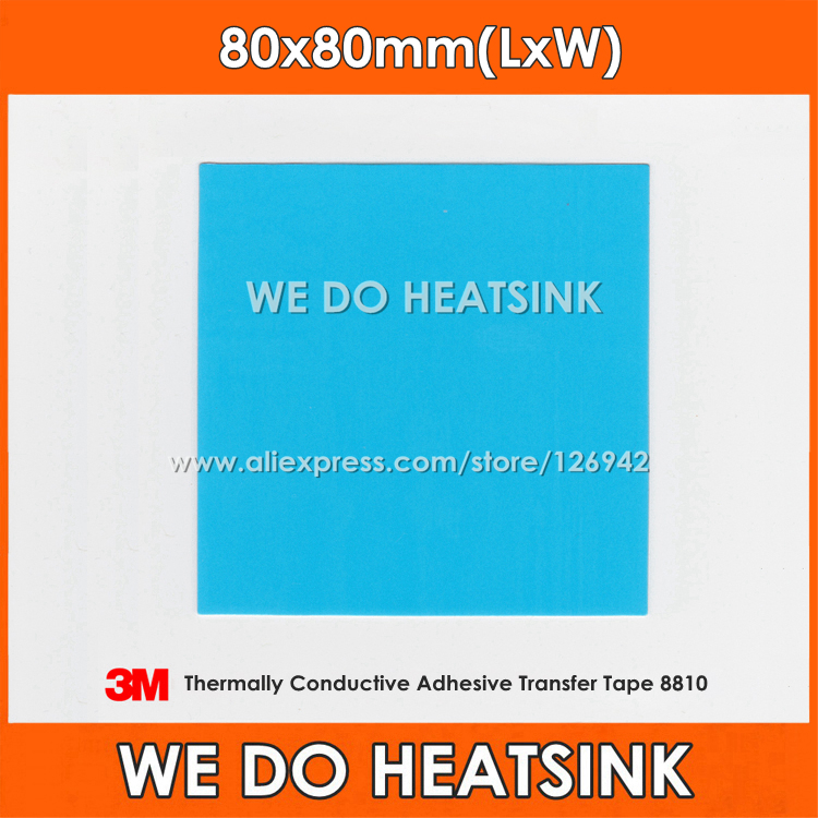 Free Shipping 2pcs 80x80mm 3M 8810 Thermally Compound Double Sided Acrylic Adhesive Blue Heatsink Cooler Pad