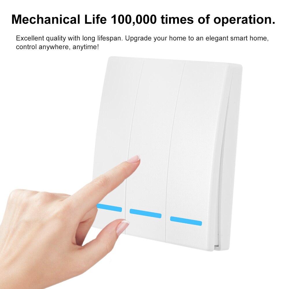 EWeLink кнопочный настенный светильник, переключатель, пульт дистанционного управления ler 1/2/3Gang 86, тип 433 МГц, Беспроводной RF пульт дистанционно...