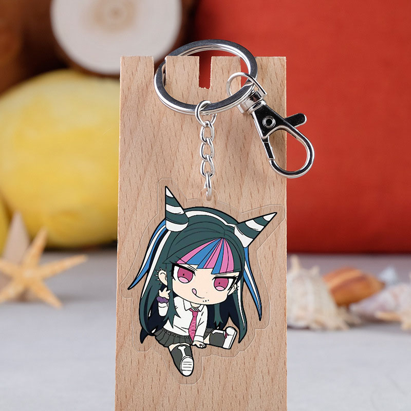 Anime Danganronpa V3 Keychain Cartoon Trigger Happy Havoc Monokuma Transparent Double-sided Car Key Holder Chain Pendant Keyring