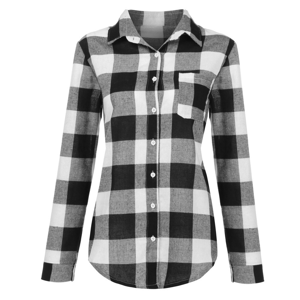 Autumn Plaid Womens Blouse Lattice Shirt Women Casual Coat Camisas Mujer Top Female Ladies Tops Chemise Femme Camisa Feminina Up-To-Date Styling Women's Clothing