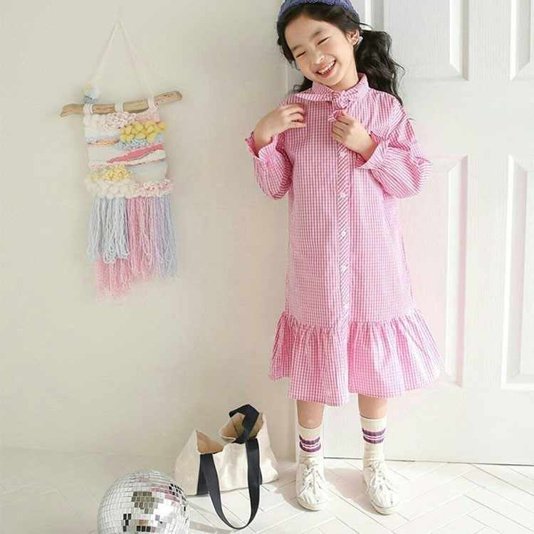 Весенне-осенние Рубашки, хлопковые детские платья принцессы с длинными рукавами, черно-белое школьное платье в клетку для девочек 9-10, 12, 14 лет